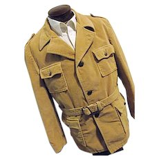 Vintage 1960s McGregor Mens Corduroy Safari Style Car Coat Jacket Sherpa 46 Long