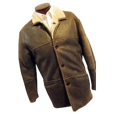 Vintage Aston Leather NY Mens Distressed Coat Lambsfur Shearling Med SOFT