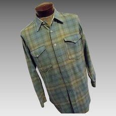 Vintage 1960s Pendleton Woolen Mills Mens Blue Shadow Plaid Lumberjack Shirt 16 Medium