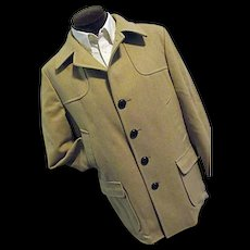 CLASSIC Vintage 1960s Pendleton Mens 100% Smooth Wool Camel Car Coat 44 EXCELLENT