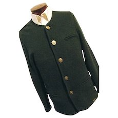 UNUSED Vintage Giesswein Austria Mens Green Boiled Wool Walking Sweater Trachten 38 L