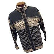 DALE OF NORWAY Mens 100% Wool Full Zipper Cardigan Sweater Jacket Blue Med