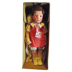 "Adorable Vintage Kathe Kruse 14-1/2"" Boy Doll ""Macke"" Original Box + Tag + Clothes"
