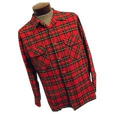 Vintage Pendleton Mens 100% Wool Board Shirt Red Tartan Plaid Lumberjack Lg