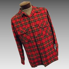 Vintage Pendleton Mens 100% Wool Board Shirt Red Tartan Plaid Lumberjack Lg
