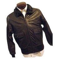 VIETNAM ERA Vintage 1960s USN Leather Flying Jacket Bomber Flight Brown Mens 46