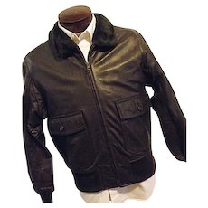 VIETNAM ERA Vintage 1960s USN Leather Flying Jacket Bomber Flight Brown Mens 46