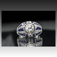 3.37 Carat Diamond and Sapphire Ring