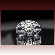 3.37 Carat Diamond and Sapphire Ring