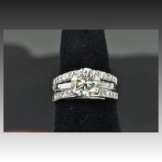 2.64 Carat Diamond Wedding Set / 2.05 Center