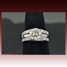 2.64 Carat Diamond Wedding Set / 2.05 Center