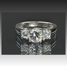 1.42 Carat 3 Diamond Ring / 1.02 Center / EGL Certified