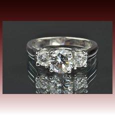 1.42 Carat 3 Diamond Ring / 1.02 Center / EGL Certified