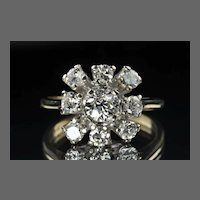 1.60 Vintage Cluster Diamond Ring / .56 Center / GIA Certified