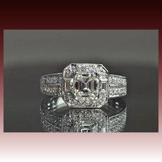 1.43 Carat Emerald Cut Halo Engagement/Wedding Ring / 1.03 Carat Center