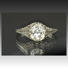 1.28 Carat Old European Cut Diamond Engagement Ring