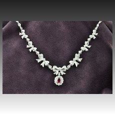 1.23 Carat Ruby and Diamond Necklace