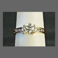 1.25 Carat Old European Cut Engagement Ring / .80 Center