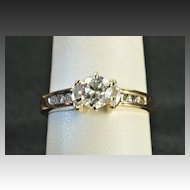 1.25 Carat Old European Cut Engagement Ring / .80 Center
