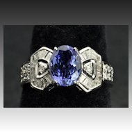 3 Carat Diamond and Tanzanite Ring