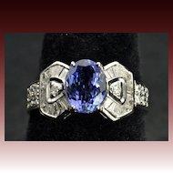 3 Carat Diamond and Tanzanite Ring