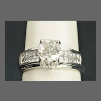 1.92 Carat Diamond Engagement Ring / 1.04 Center