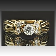 .75 Carat Old European Cut Diamond Engagement Ring / .50 Center