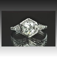 1.07 Carat Edwardain Style Engagement Ring / .91 Center / EGL Certified