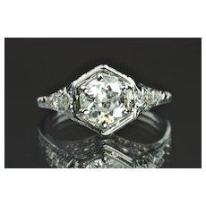 1.07 Carat Edwardain Style Engagement Ring / .91 Center / EGL Certified