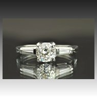 1 Carat Old Mine Cut Diamond Engagement Ring/.78 Center