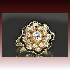 1.15 Carat Georgian Style Diamond Cluster Ring