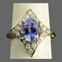 2.6 Carat Tanzanite and Diamond Ring