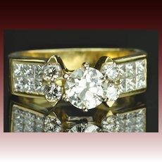 1.65 Carat Old European Cut Diamond Engagement Ring / .85 Carat Center