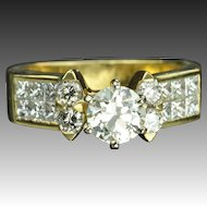 1.65 Carat Old European Cut Diamond Engagement Ring / .85 Carat Center