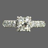 1 Carat Old European Cut Diamond Engagement Ring