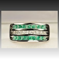 1.60 Carat Emerald and Diamond Band / CLEARANCE PRICED!!!