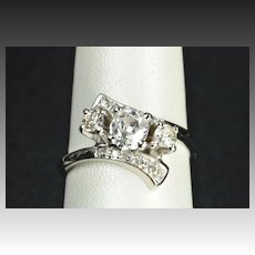 1.15 Carat Old Mine Cut Diamond Engagement/Wedding Ring/.72 Carat Center
