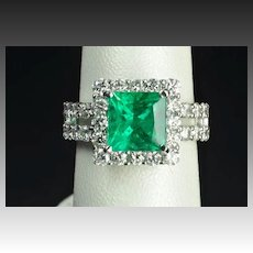 5.18 Carat Brazilian Emerald and Diamond Ring / AGL Certified