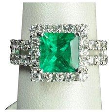 5.18 Carat Brazilian Emerald and Diamond Ring / AGL Certified