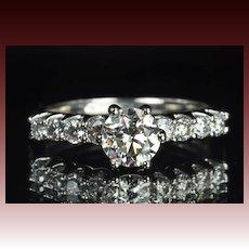 1.32 Carat Diamond Solitaire Engagement Ring / .92 Carat Center