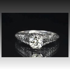 .85 Carat Old European Cut Diamond Engagement Ring