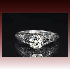 .85 Carat Old European Cut Diamond Engagement Ring