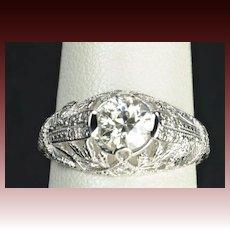 .90 Carat Old European Cut Diamond Engagement / Wedding Ring