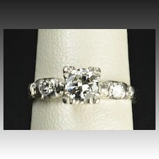 Vintage .64 Carat Diamond Engagement Ring / .51 Carat Center