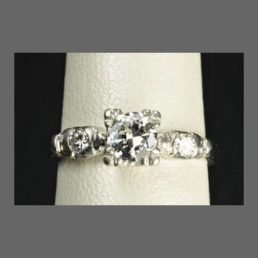 Vintage .64 Carat Diamond Engagement Ring / .51 Carat Center