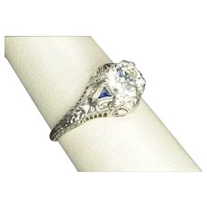 1.24 Carat Diamond and Sapphire Engagement Ring / 1.14 Center / EGL Certified