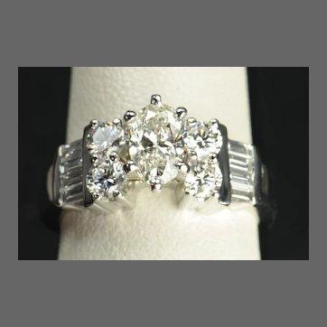 1.70 Carat Oval Diamond Engagement / Wedding Ring