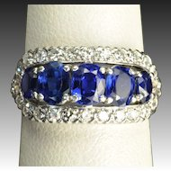 Vintage 2.5 Carat Sapphire and Diamond Wedding Ring