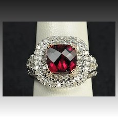 3.5 Carat Diamond and Rubellite Tourmaline Ring