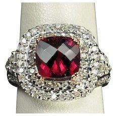 3.5 Carat Diamond and Rubellite Tourmaline Ring